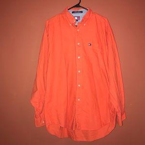 Tommy Hilfiger button up orange shirt